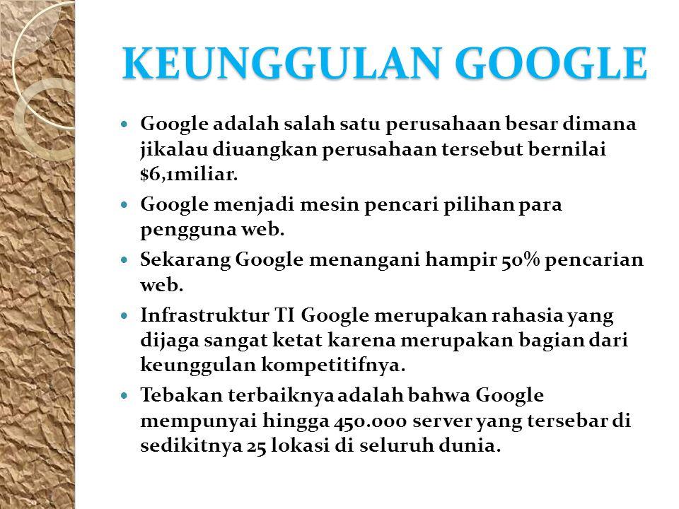 KEUNGGULAN GOOGLE Google adalah salah satu perusahaan besar dimana jikalau diuangkan perusahaan tersebut bernilai $6,1miliar. Google menjadi mesin pen