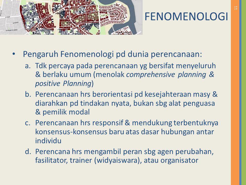 11 Pengaruh Fenomenologi pd dunia perencanaan: a.Tdk percaya pada perencanaan yg bersifat menyeluruh & berlaku umum (menolak comprehensive planning &