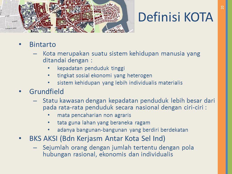 20 Definisi KOTA Bintarto – Kota merupakan suatu sistem kehidupan manusia yang ditandai dengan : kepadatan penduduk tinggi tingkat sosial ekonomi yang