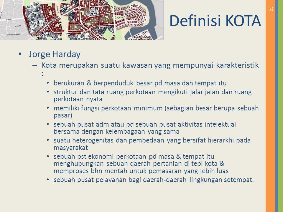21 Definisi KOTA Jorge Harday – Kota merupakan suatu kawasan yang mempunyai karakteristik : berukuran & berpenduduk besar pd masa dan tempat itu struk