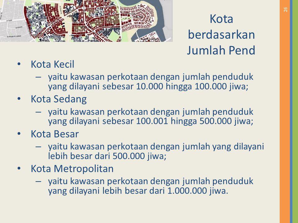 26 Kota berdasarkan Jumlah Pend Kota Kecil – yaitu kawasan perkotaan dengan jumlah penduduk yang dilayani sebesar 10.000 hingga 100.000 jiwa; Kota Sed