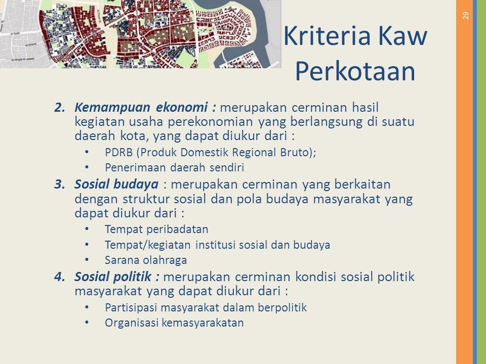 29 Kriteria Kaw Perkotaan 2.Kemampuan ekonomi : merupakan cerminan hasil kegiatan usaha perekonomian yang berlangsung di suatu daerah kota, yang dapat
