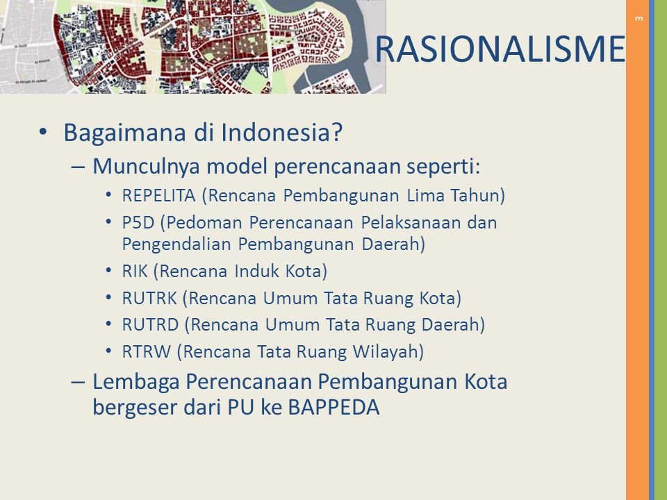 3 Bagaimana di Indonesia? – Munculnya model perencanaan seperti: REPELITA (Rencana Pembangunan Lima Tahun) P5D (Pedoman Perencanaan Pelaksanaan dan Pe