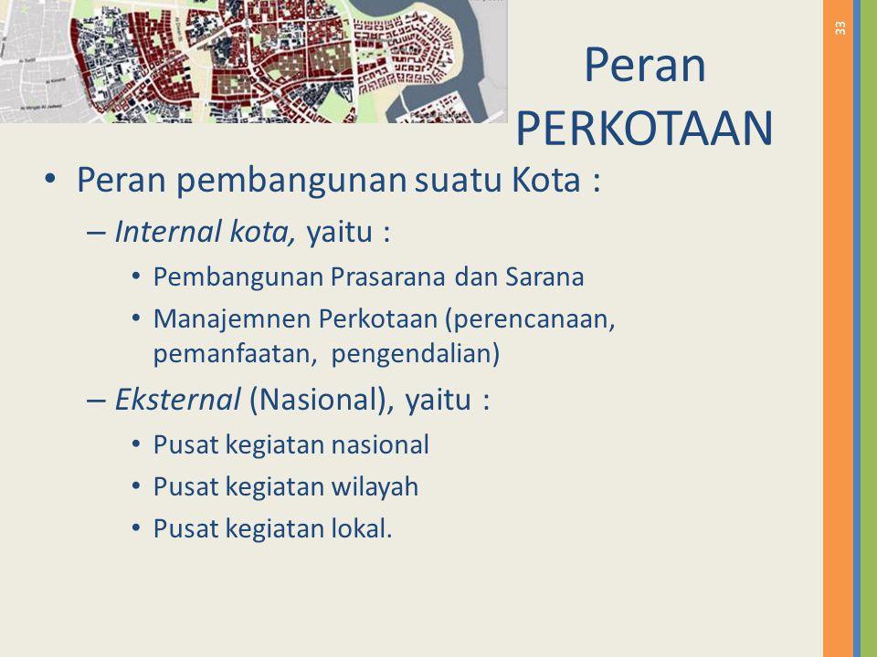 33 Peran PERKOTAAN Peran pembangunan suatu Kota : – Internal kota, yaitu : Pembangunan Prasarana dan Sarana Manajemnen Perkotaan (perencanaan, pemanfa