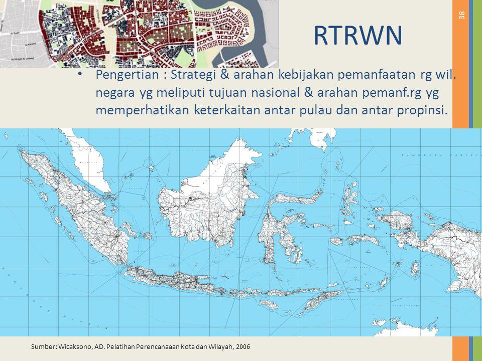 38 RTRWN Pengertian : Strategi & arahan kebijakan pemanfaatan rg wil. negara yg meliputi tujuan nasional & arahan pemanf.rg yg memperhatikan keterkait
