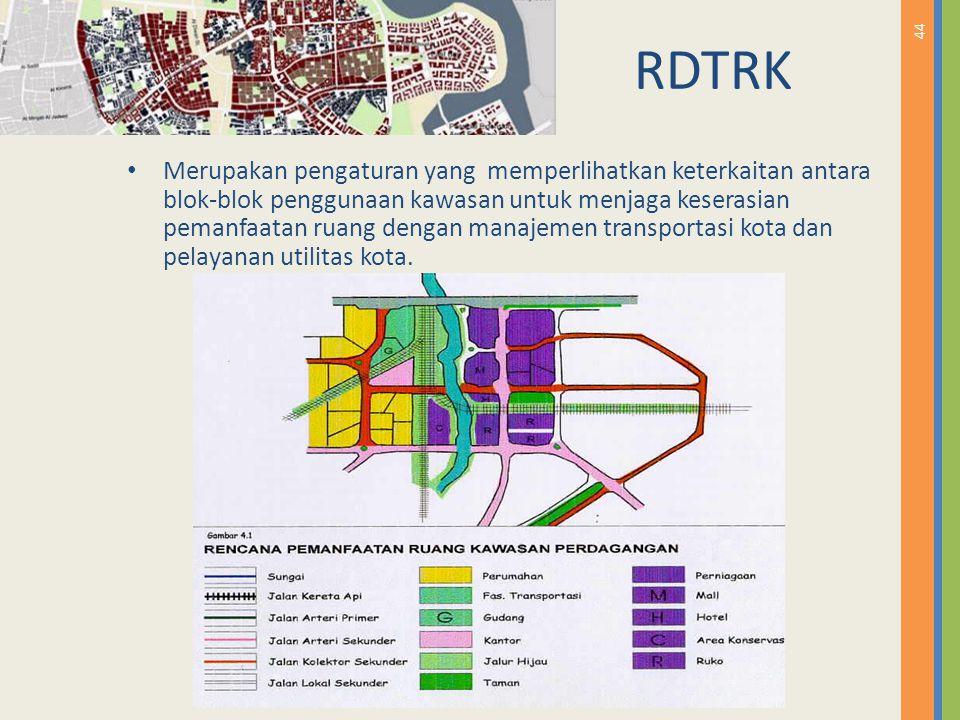 44 RDTRK Merupakan pengaturan yang memperlihatkan keterkaitan antara blok-blok penggunaan kawasan untuk menjaga keserasian pemanfaatan ruang dengan ma