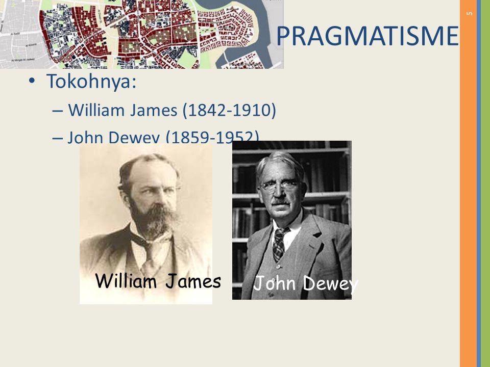 5 Tokohnya: – William James (1842-1910) – John Dewey (1859-1952) William James John Dewey PRAGMATISME