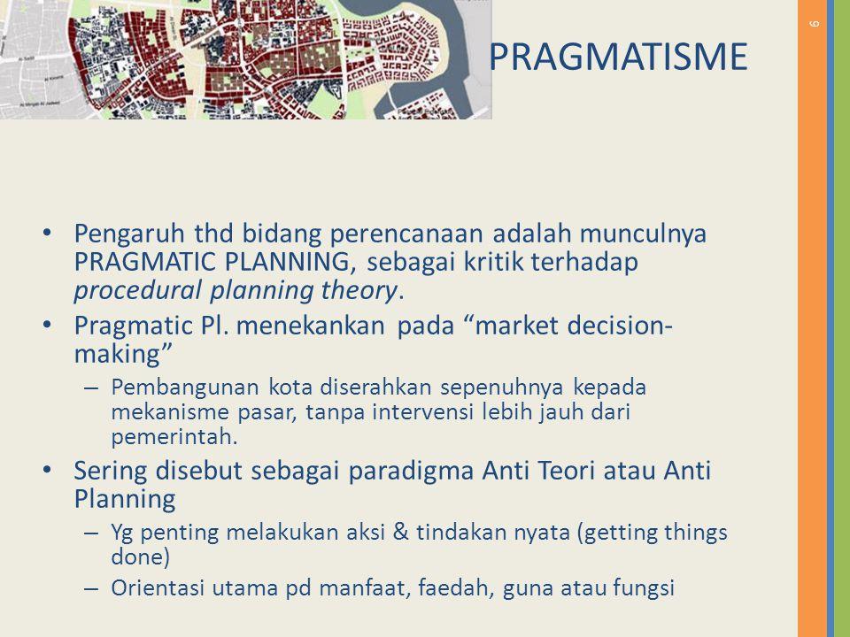 7 PRAGMATIS ME Model perencanaan lbh berdasarkan pd keadaan pasar atau lapangan drpd teori-teori planning Merupakan produk dr sistem ekonomi 'laissez faire' (kompetesi pasar bebas) Bagaimana di Indonesia.