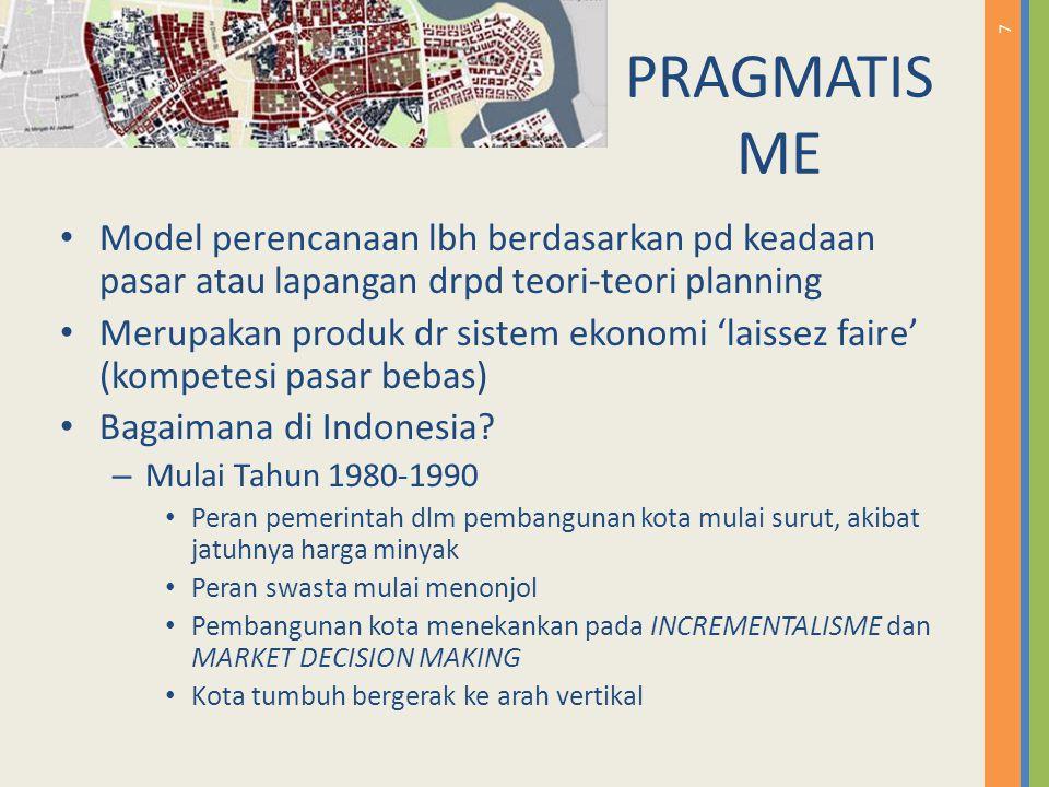 7 PRAGMATIS ME Model perencanaan lbh berdasarkan pd keadaan pasar atau lapangan drpd teori-teori planning Merupakan produk dr sistem ekonomi 'laissez