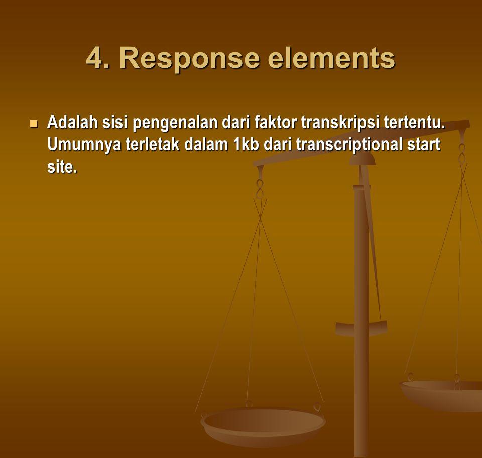 4.Response elements Adalah sisi pengenalan dari faktor transkripsi tertentu.