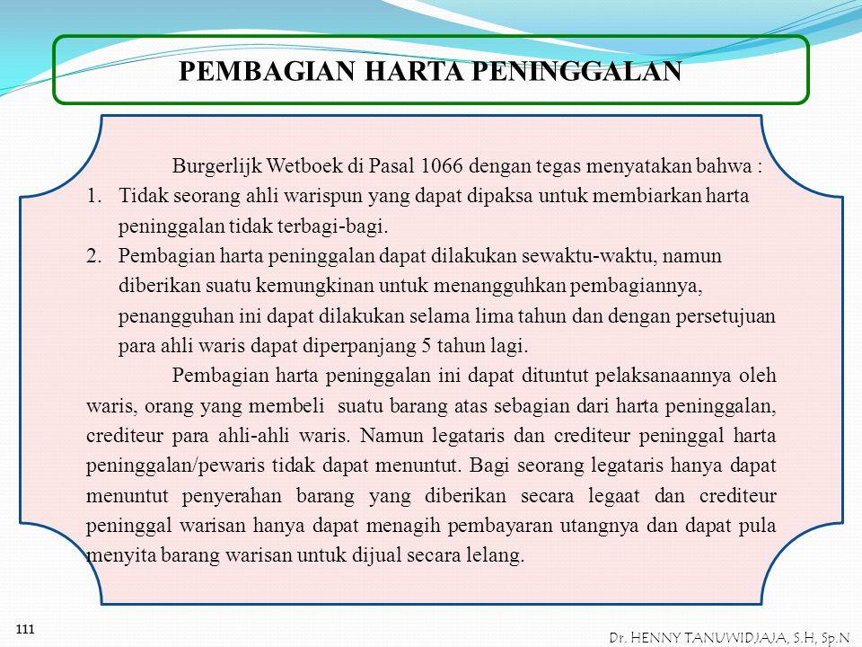 110 Dr. HENNY TANUWIDJAJA, S.H, Sp.N Contoh Kasus II P meninggal dunia pada tahun 1985, sebelum meninggal ia pernah menghibahkan sebidang tanah pekara