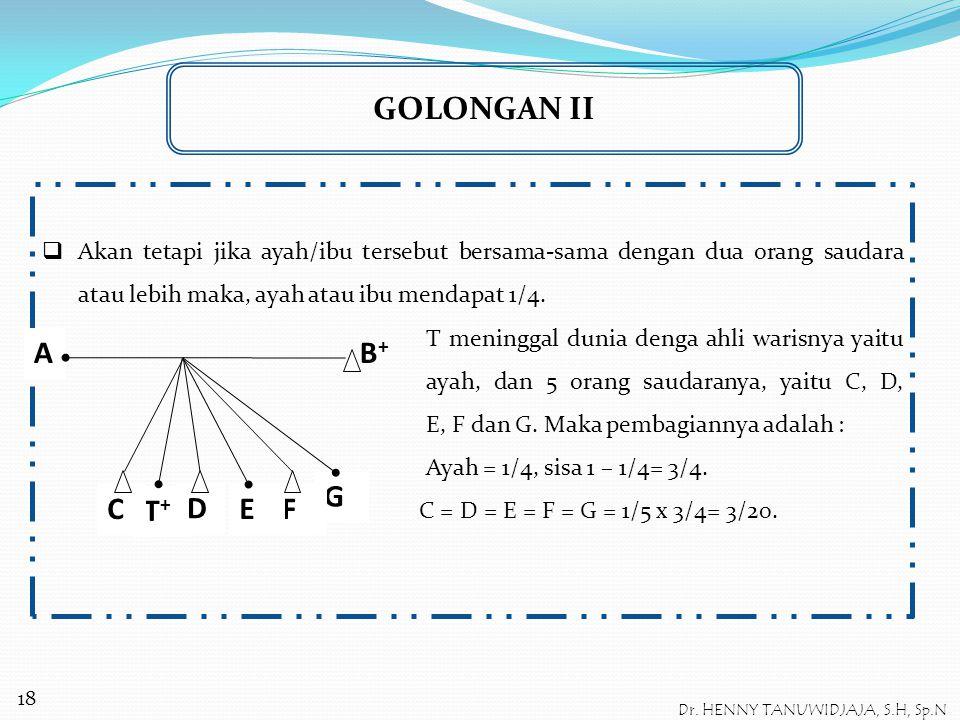 GOLONGAN II Dalam hal orang tua (ayah/ibu) si meninggal masih hidup  Jika ayah atau ibu saja yang ada bersama dengan satu orang saudara, maka pembagi