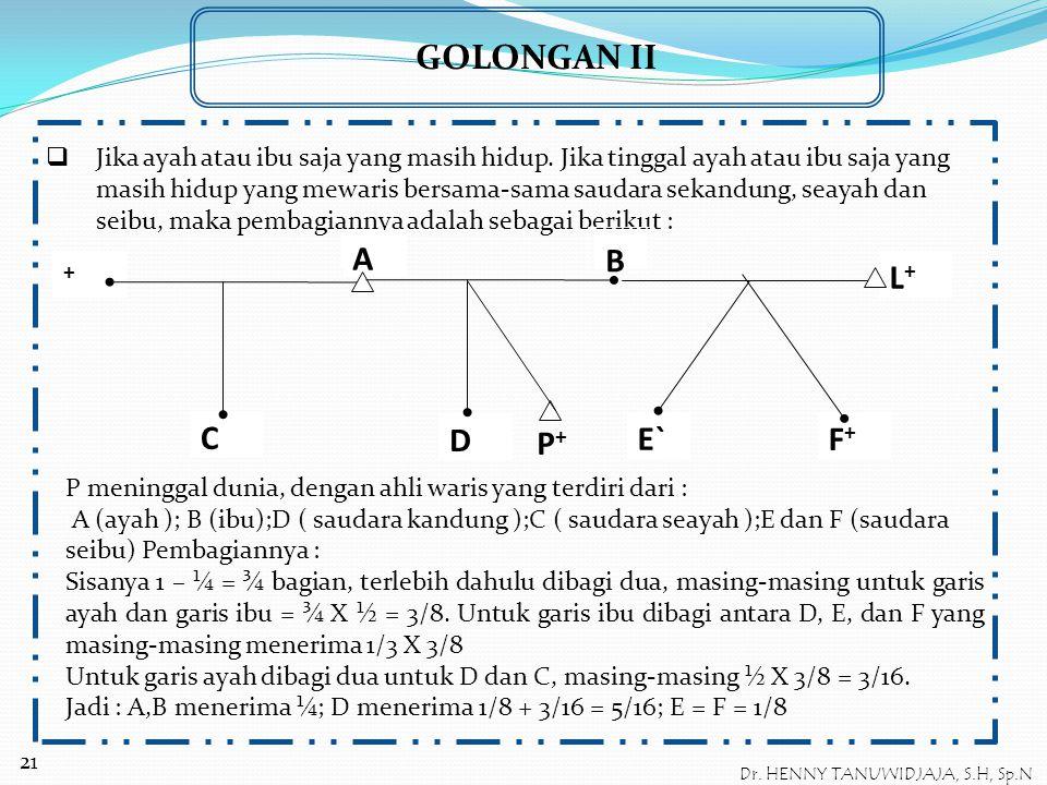 GOLONGAN II  Jika pewaris meninggalkan saudara-saudara yang berasal dari perkawinan yang berbeda dan ayah serta ibu masih hidup. Ahli waris P : A dan