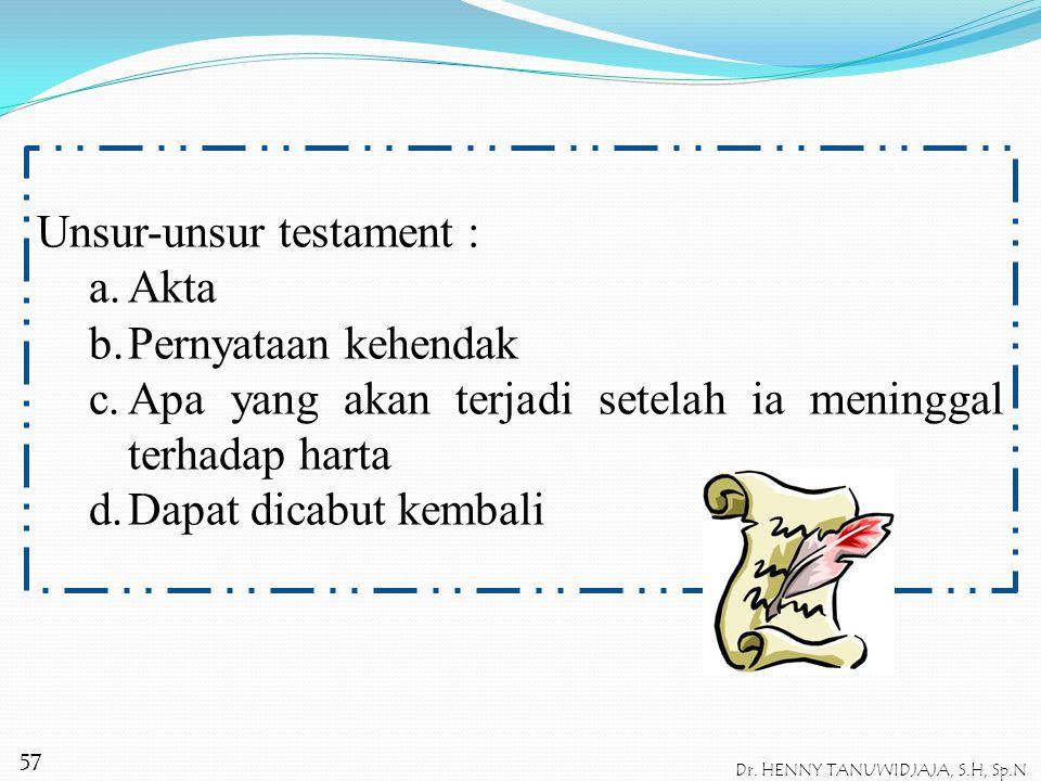 Pengertian Testament : Pasal 875 KUHPerdata → suatu akta yang memuat tentang apa yang dikehendaki terhadap harta setelah ia meninggal dunia dan dapat
