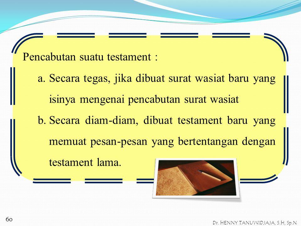 Isi dari testament adalah : a.Erfstelling → pasal 954 KUHPerdata Testamentair erfgenaam b.Legaat (berhubungan dengan harta) → pasal 957 KUHPerdata Leg