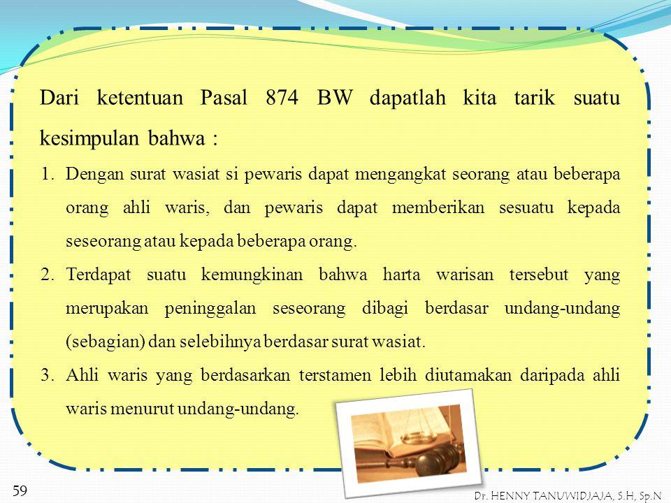 """DASAR HUKUM WARIS TESTAMENTAIR Dasar hukum dari waris testamentair adalah pasal 874 BW yang menyatakan bahwa, """"Segala harta peningga lan seseorang yan"""