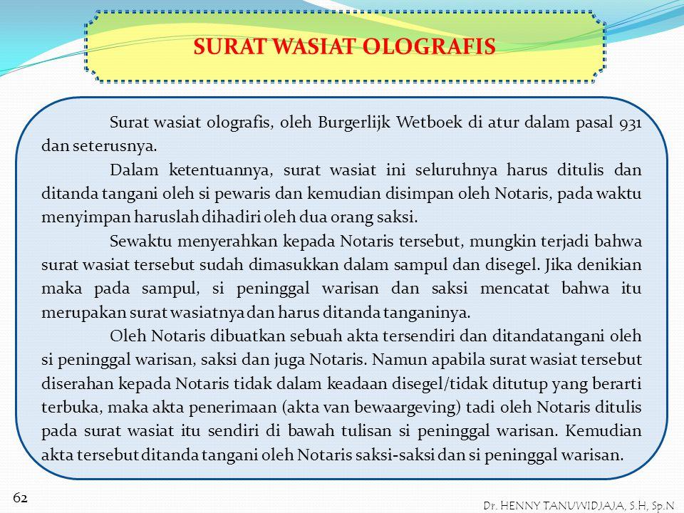 JENIS-JENIS SURAT WASIAT Burgerlijk Wetboek mengenal tiga macam/jenis cara pembuatan surat wasiat, yaitu : 1.Surat wasiat yang ditulis sendiri (ologra
