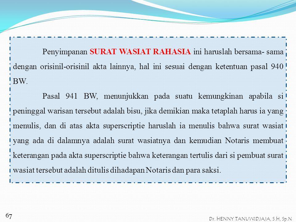 SURAT WASIAT RAHASIA (GEHEIM) Syarat-syarat pembuatan SURAT WASIAT RAHASIA ini diatur dalam pasal 940 dan 941 BW. Pembuatan surat wasiat rahasia harus