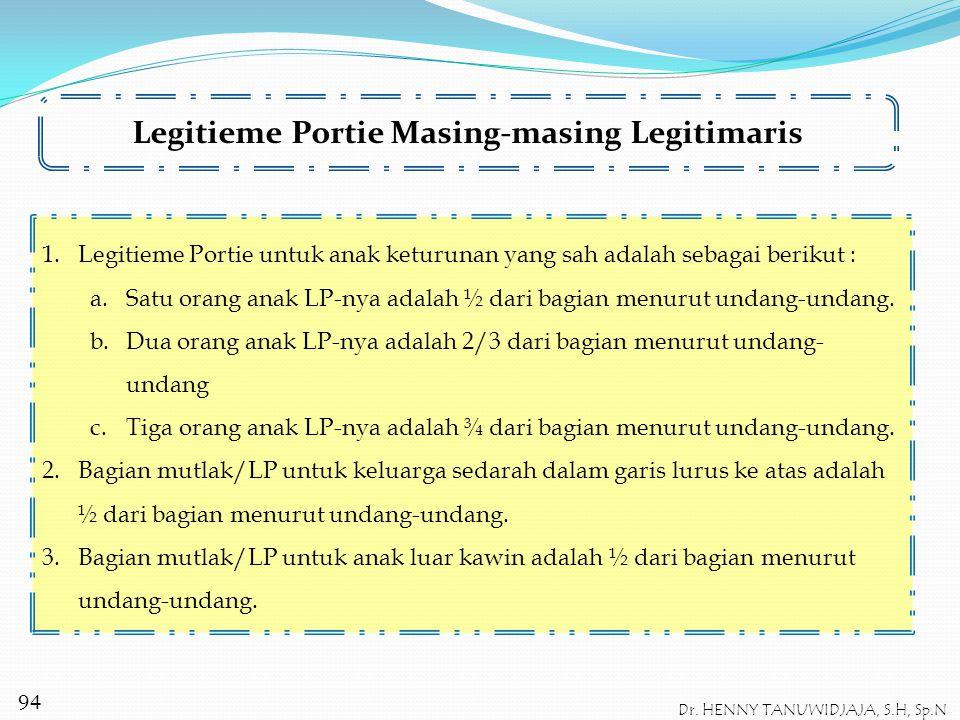 Contoh I : P meninggal dunia dengan meninggalkan 2 orang anak, yaitu C dan D. Legitimaris adalah C dan D, sebab adalah keluarga sedarah P dalam garis