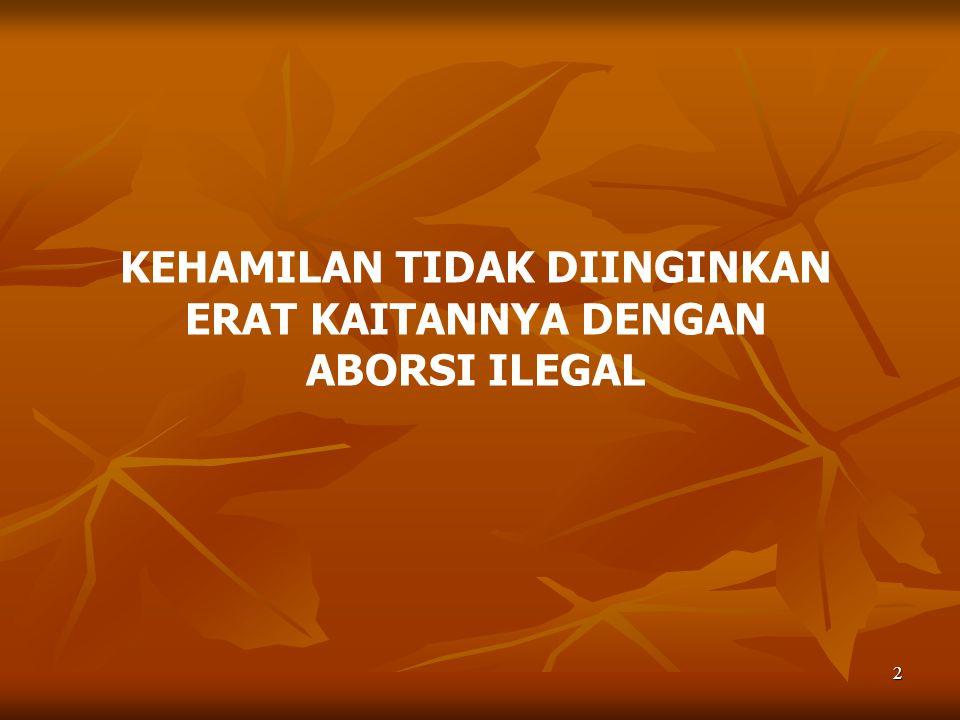 3 PENYEBAB: INDONESIA TIDAK PUNYA PERATURAN PERUNDANGAN DAN FATWA YANG MEMUNGKINKAN PEMBERIAN PELAYANAN ABORSI YANG AMAN AKIBATNYA: 1.