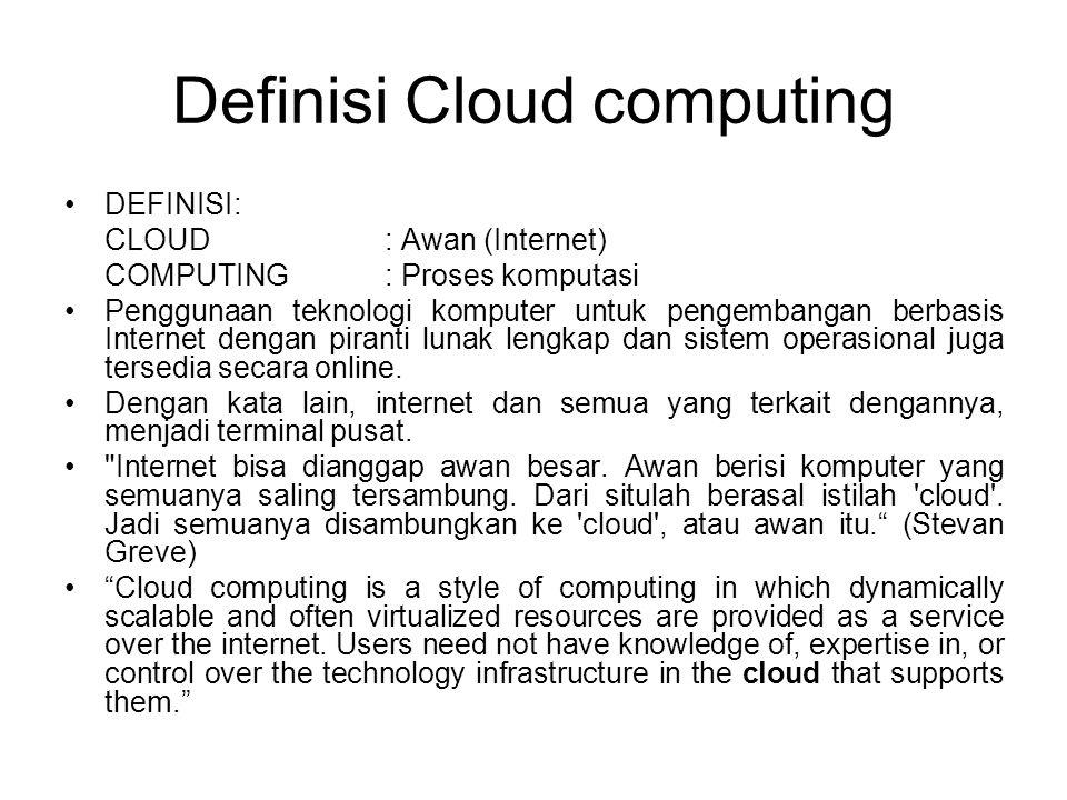 Definisi Cloud computing DEFINISI: CLOUD : Awan (Internet) COMPUTING: Proses komputasi Penggunaan teknologi komputer untuk pengembangan berbasis Inter