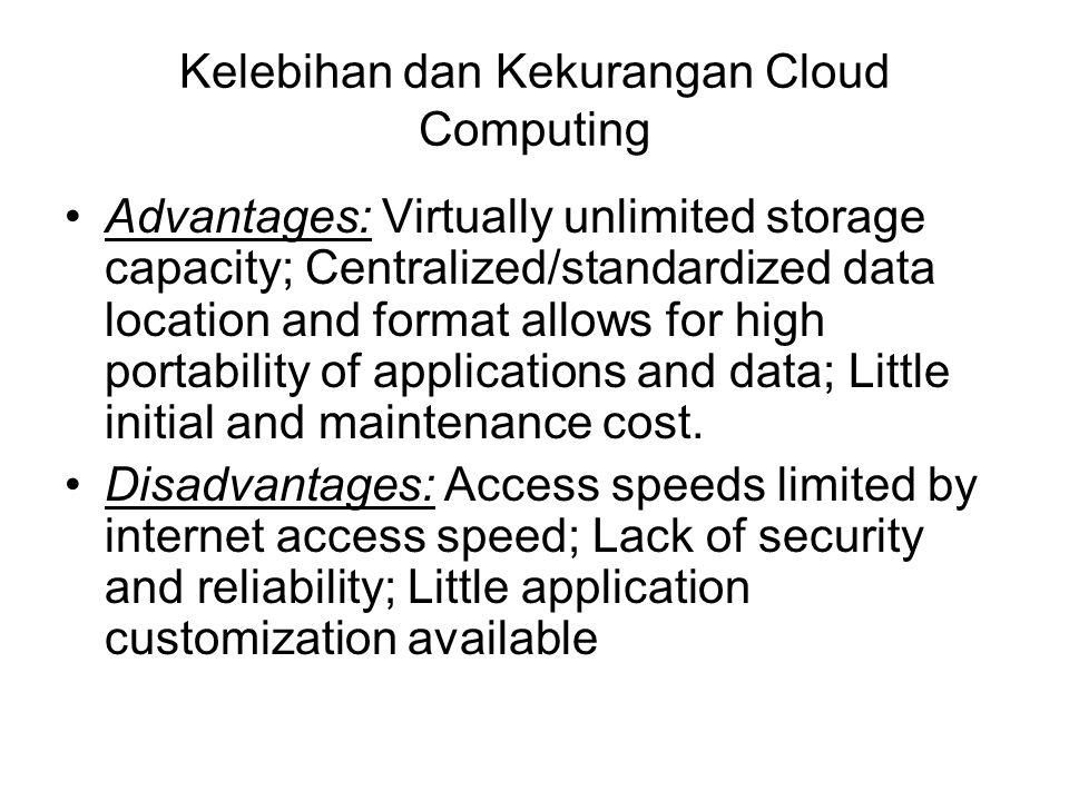 Kelebihan dan Kekurangan Cloud Computing Advantages: Virtually unlimited storage capacity; Centralized/standardized data location and format allows fo