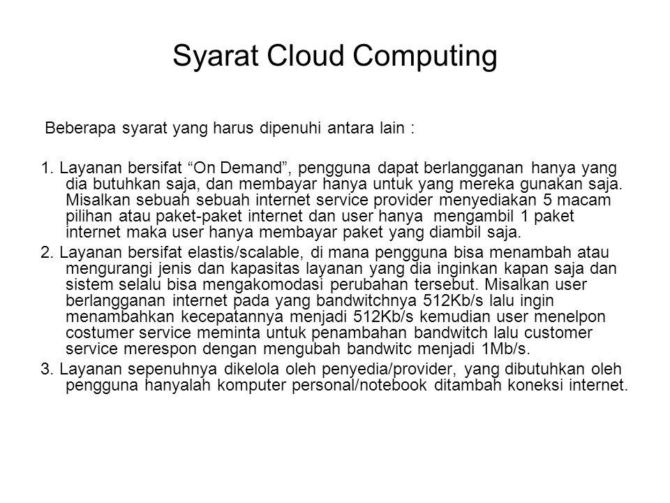 """Syarat Cloud Computing Beberapa syarat yang harus dipenuhi antara lain : 1. Layanan bersifat """"On Demand"""", pengguna dapat berlangganan hanya yang dia b"""