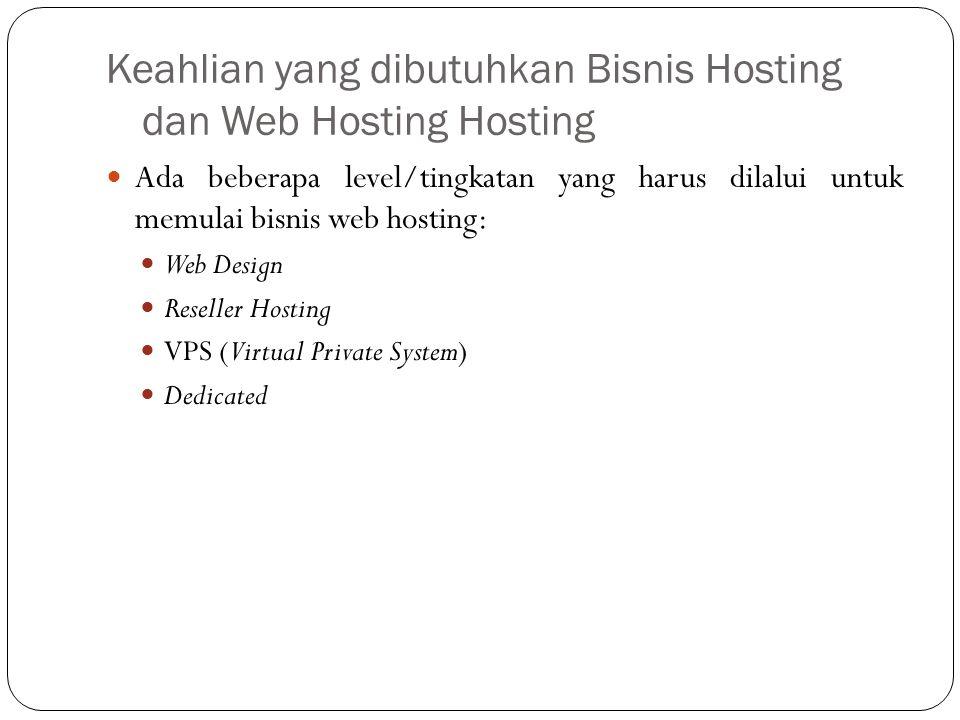 Keahlian yang dibutuhkan Bisnis Hosting dan Web Hosting Hosting Ada beberapa level/tingkatan yang harus dilalui untuk memulai bisnis web hosting: Web