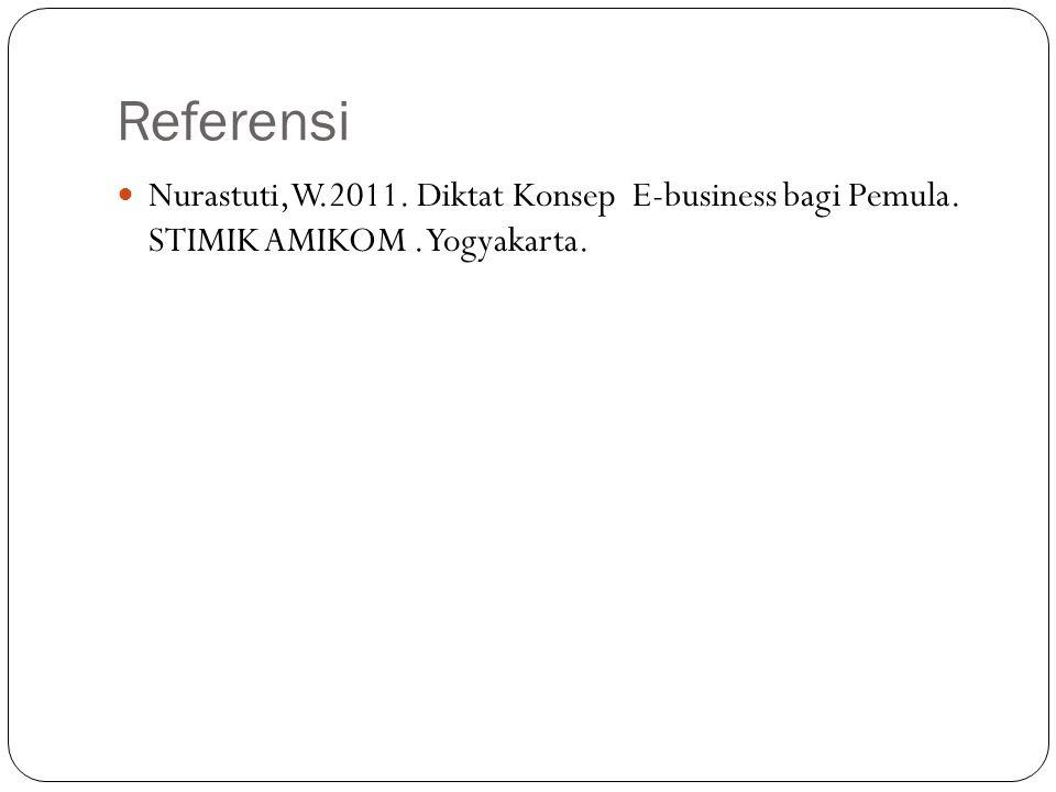 Referensi Nurastuti,W.2011. Diktat Konsep E-business bagi Pemula. STIMIK AMIKOM. Yogyakarta.
