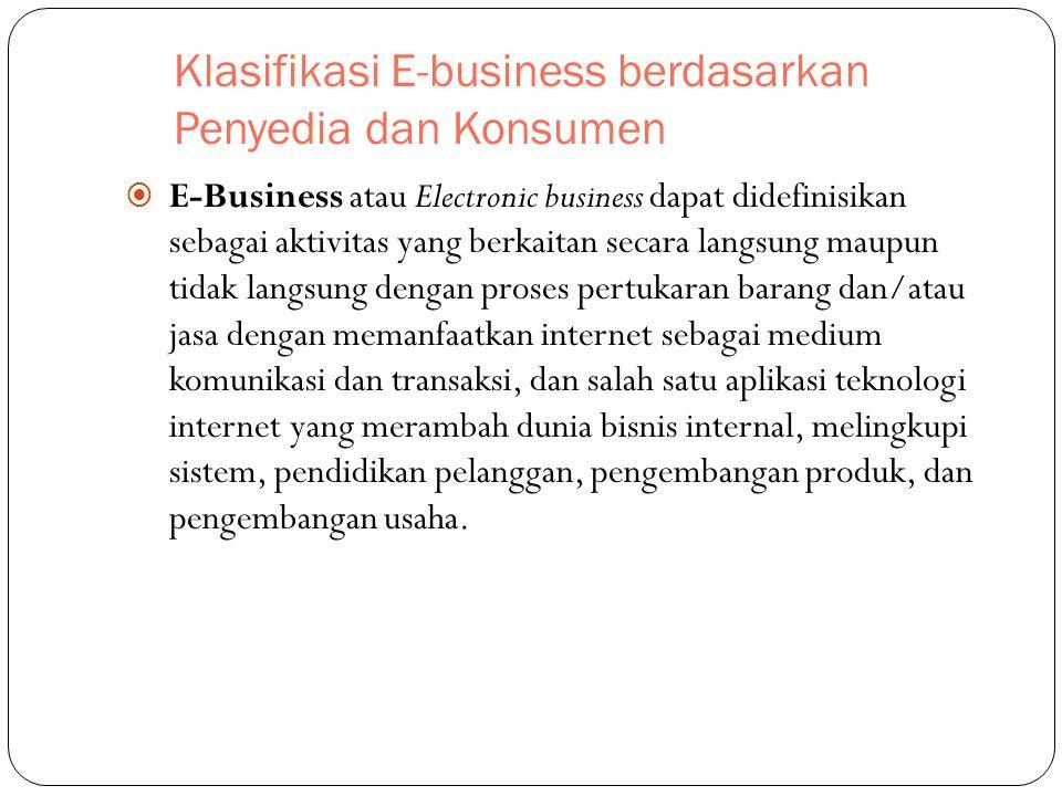Klasifikasi E-business berdasarkan Penyedia dan Konsumen  E-Business atau Electronic business dapat didefinisikan sebagai aktivitas yang berkaitan se