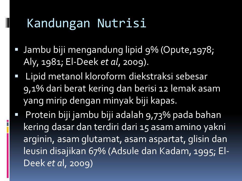 Kandungan Nutrisi  Jambu biji mengandung lipid 9% (Opute,1978; Aly, 1981; El-Deek et al, 2009).