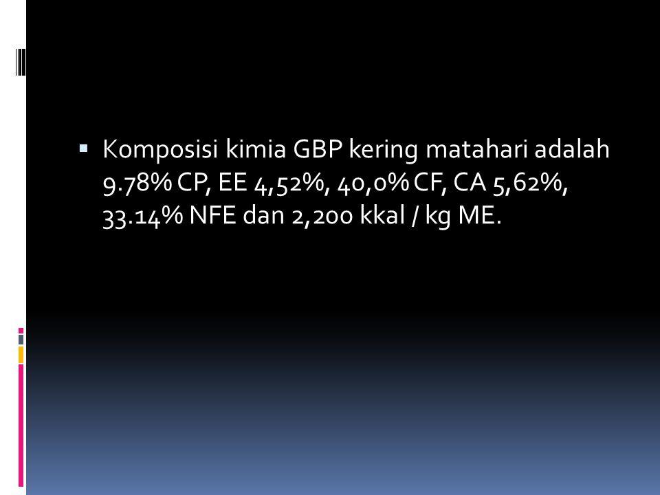  Komposisi kimia GBP kering matahari adalah 9.78% CP, EE 4,52%, 40,0% CF, CA 5,62%, 33.14% NFE dan 2,200 kkal / kg ME.