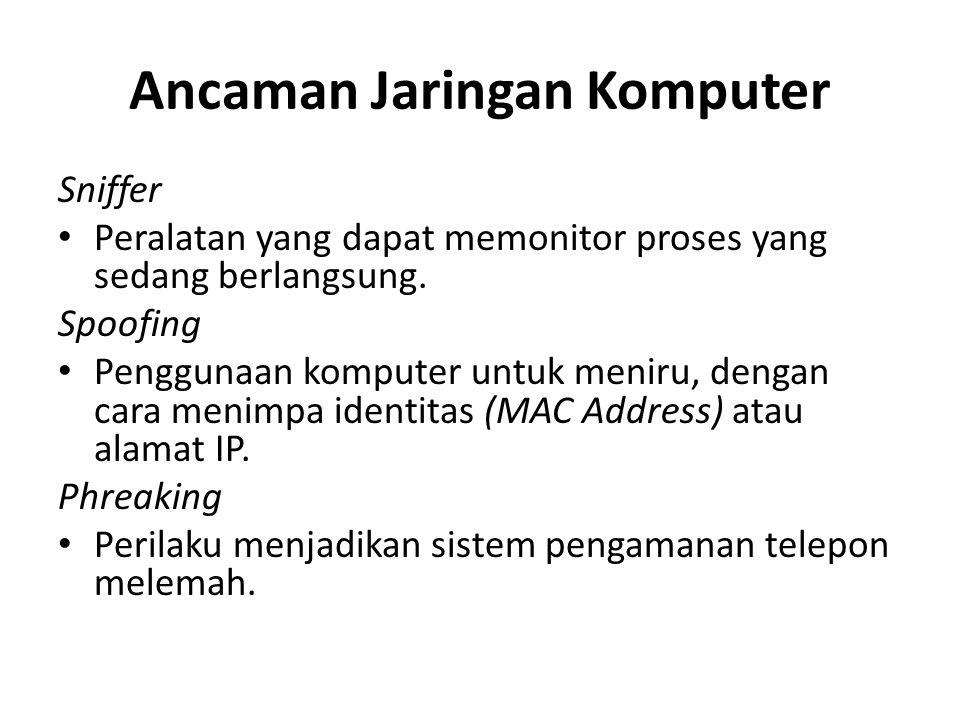 Ancaman Jaringan Komputer Sniffer Peralatan yang dapat memonitor proses yang sedang berlangsung. Spoofing Penggunaan komputer untuk meniru, dengan car