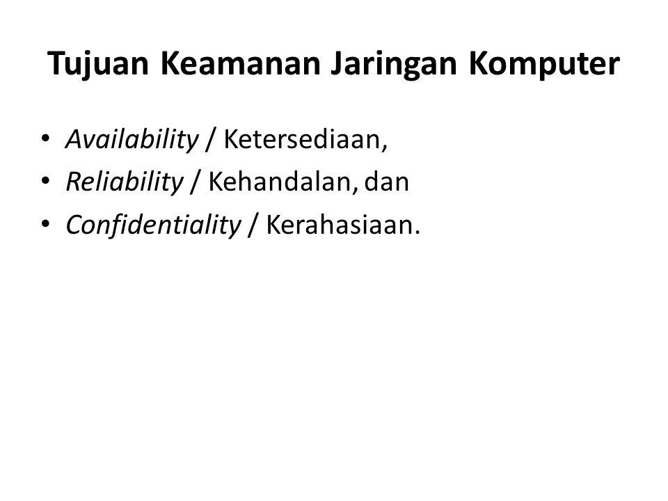 Tujuan Keamanan Jaringan Komputer Availability / Ketersediaan, Reliability / Kehandalan, dan Confidentiality / Kerahasiaan.