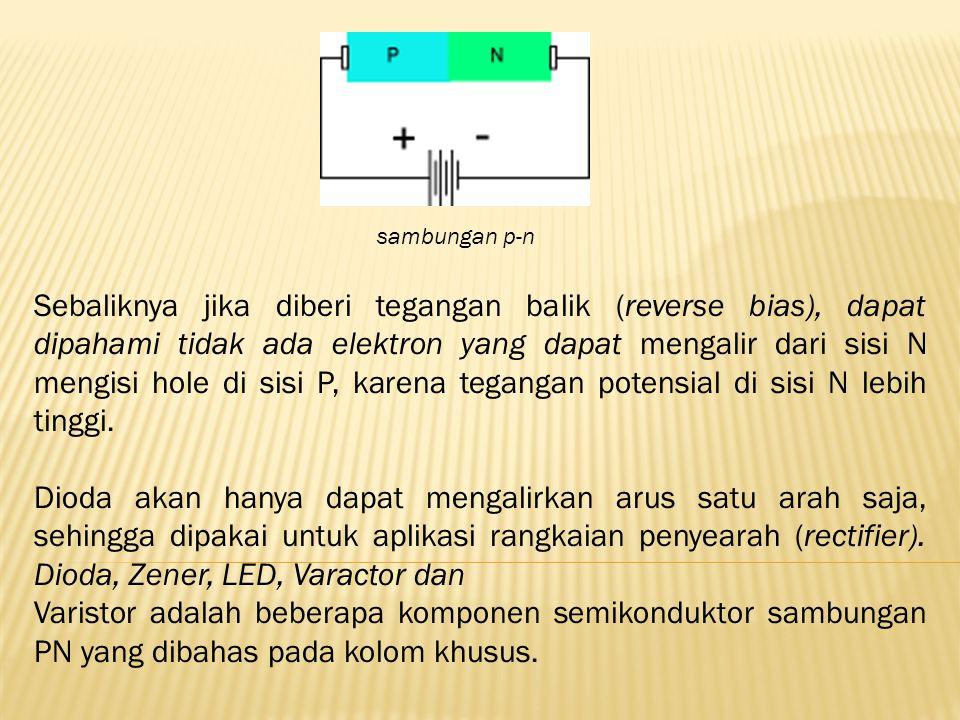 Sebaliknya jika diberi tegangan balik (reverse bias), dapat dipahami tidak ada elektron yang dapat mengalir dari sisi N mengisi hole di sisi P, karena