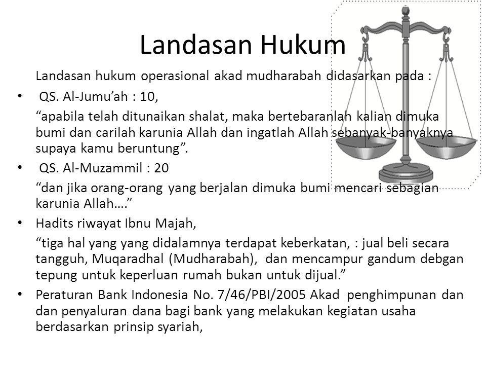 """Landasan Hukum Landasan hukum operasional akad mudharabah didasarkan pada : QS. Al-Jumu'ah : 10, """"apabila telah ditunaikan shalat, maka bertebaranlah"""