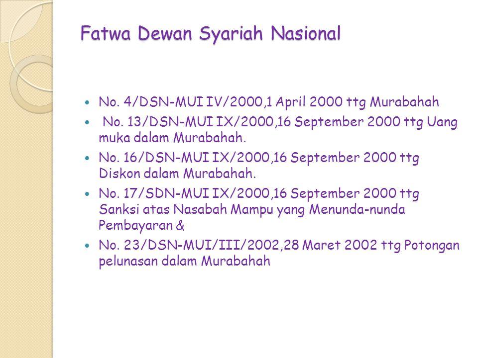 Fatwa Dewan Syariah Nasional No. 4/DSN-MUI IV/2000,1 April 2000 ttg Murabahah No. 13/DSN-MUI IX/2000,16 September 2000 ttg Uang muka dalam Murabahah.