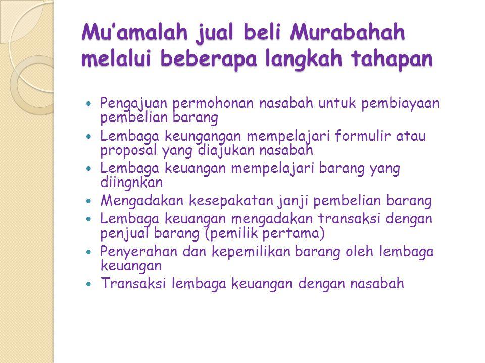 Mu'amalah jual beli Murabahah melalui beberapa langkah tahapan Pengajuan permohonan nasabah untuk pembiayaan pembelian barang Lembaga keungangan mempe
