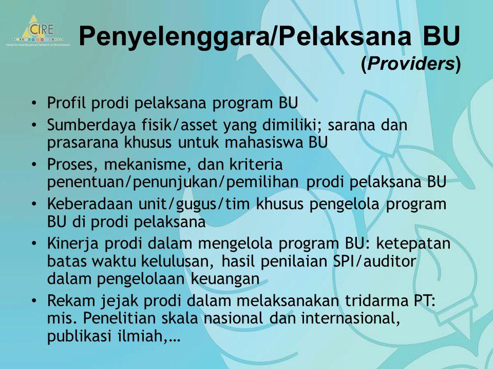 Penyelenggara/Pelaksana BU (Providers) Profil prodi pelaksana program BU Sumberdaya fisik/asset yang dimiliki; sarana dan prasarana khusus untuk mahasiswa BU Proses, mekanisme, dan kriteria penentuan/penunjukan/pemilihan prodi pelaksana BU Keberadaan unit/gugus/tim khusus pengelola program BU di prodi pelaksana Kinerja prodi dalam mengelola program BU: ketepatan batas waktu kelulusan, hasil penilaian SPI/auditor dalam pengelolaan keuangan Rekam jejak prodi dalam melaksanakan tridarma PT: mis.