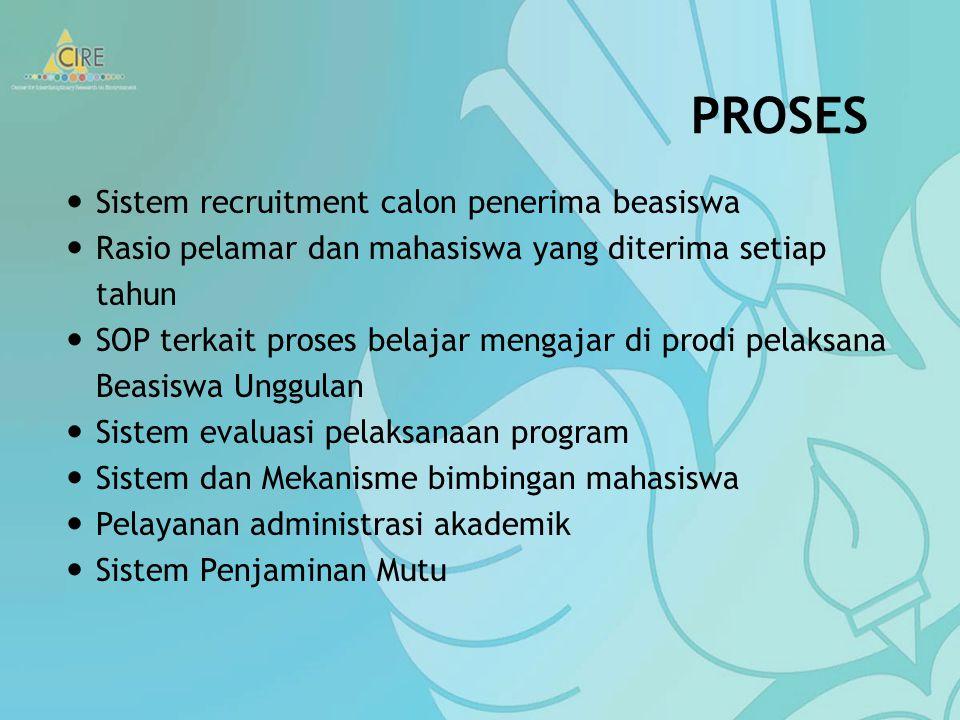 Penerima beasiswa (mahasiswa) Jumlah mahasiswa yang diterima tiap tahun oleh masing-masing prodi pelaksana BU Profil mahasiswa: asal daerah, status so