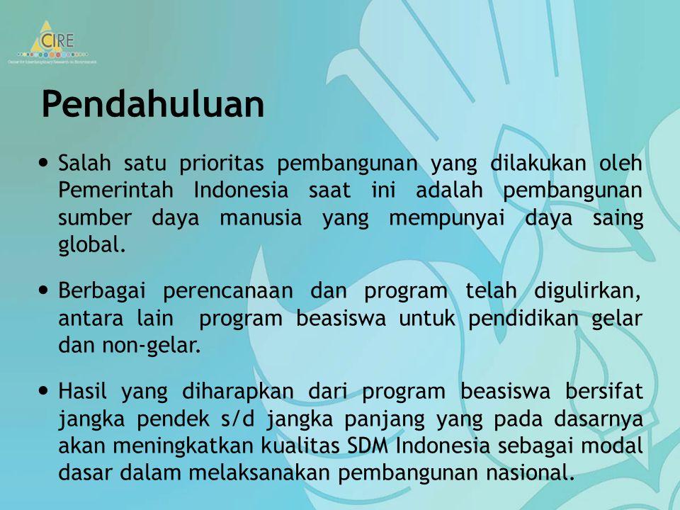 Pendahuluan Salah satu prioritas pembangunan yang dilakukan oleh Pemerintah Indonesia saat ini adalah pembangunan sumber daya manusia yang mempunyai daya saing global.