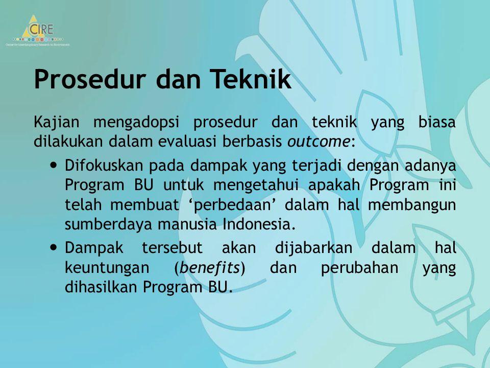Prosedur dan Teknik Kajian mengadopsi prosedur dan teknik yang biasa dilakukan dalam evaluasi berbasis outcome: Difokuskan pada dampak yang terjadi dengan adanya Program BU untuk mengetahui apakah Program ini telah membuat 'perbedaan' dalam hal membangun sumberdaya manusia Indonesia.