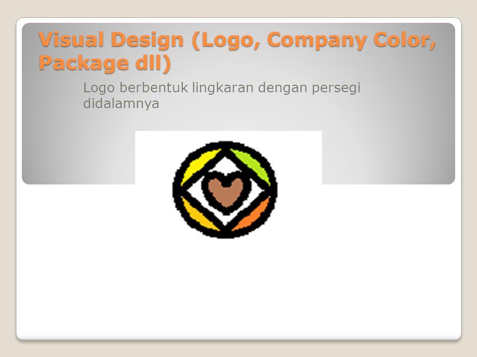 Visual Design (Logo, Company Color, Package dll) Logo berbentuk lingkaran dengan persegi didalamnya