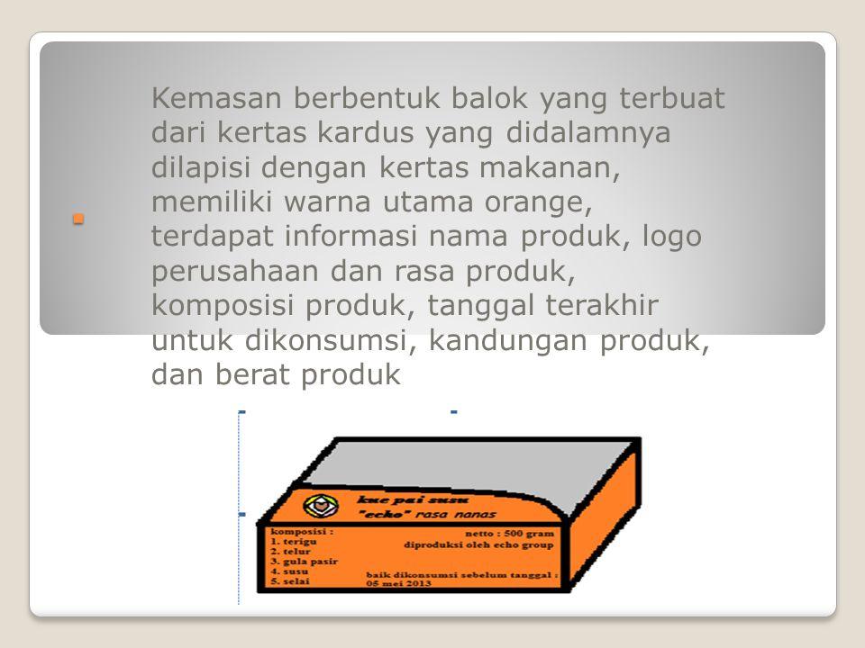 . Kemasan berbentuk balok yang terbuat dari kertas kardus yang didalamnya dilapisi dengan kertas makanan, memiliki warna utama orange, terdapat informasi nama produk, logo perusahaan dan rasa produk, komposisi produk, tanggal terakhir untuk dikonsumsi, kandungan produk, dan berat produk
