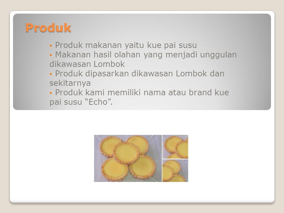 Produk  Produk makanan yaitu kue pai susu  Makanan hasil olahan yang menjadi unggulan dikawasan Lombok  Produk dipasarkan dikawasan Lombok dan seki
