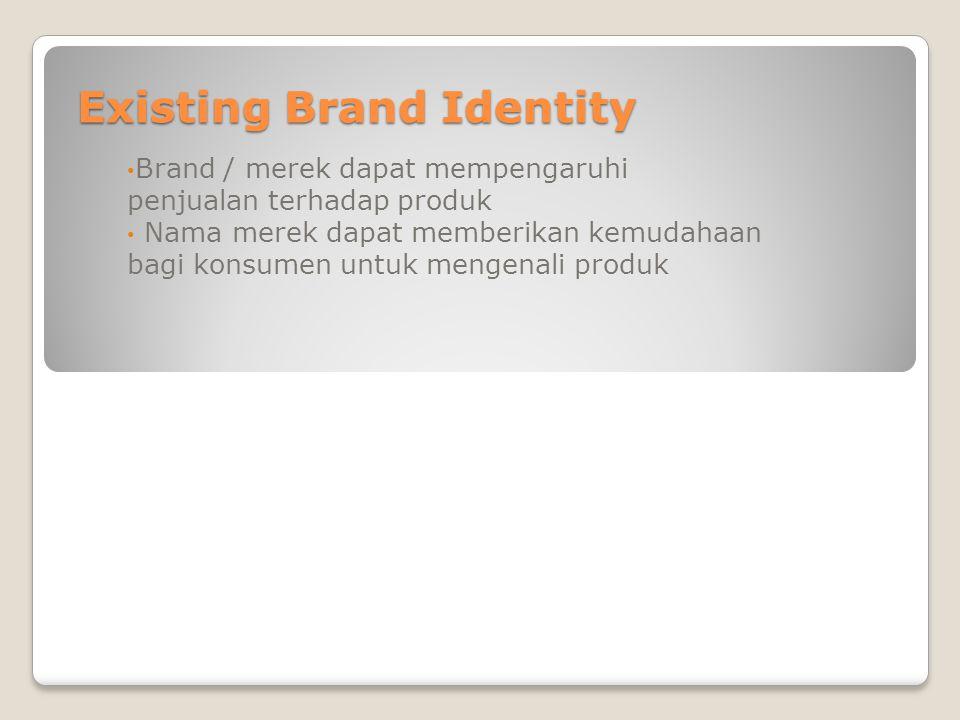 Existing Brand Identity Brand / merek dapat mempengaruhi penjualan terhadap produk Nama merek dapat memberikan kemudahaan bagi konsumen untuk mengenal
