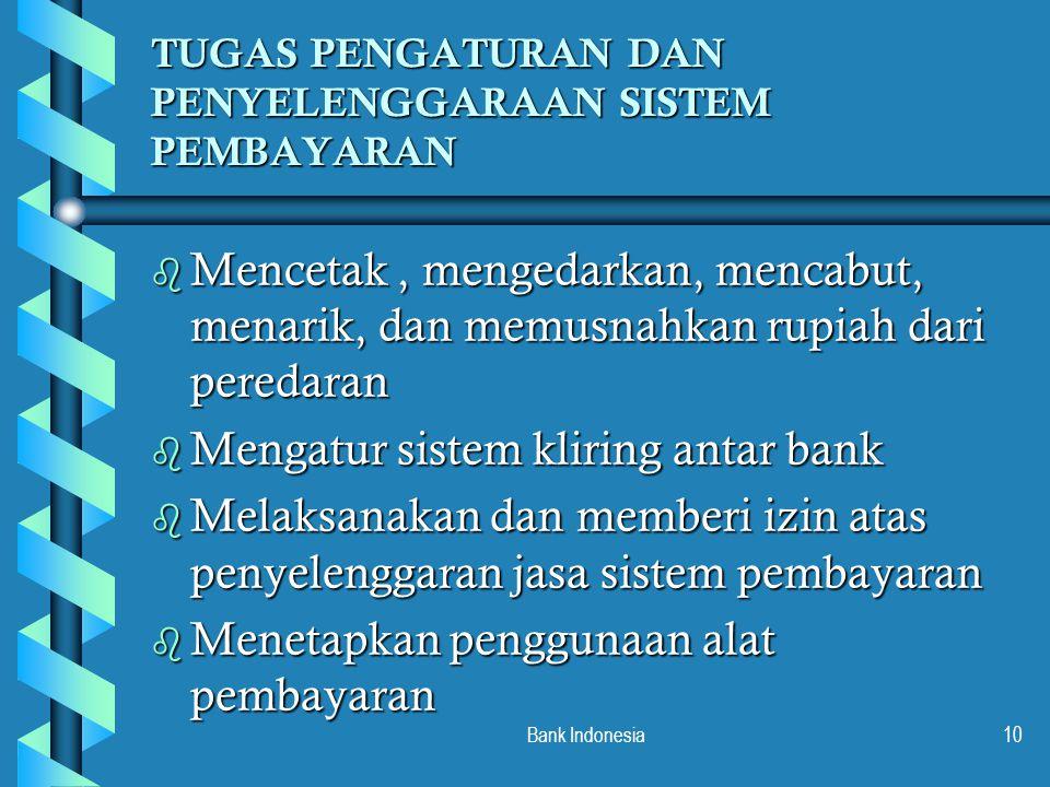 Bank Indonesia10 TUGAS PENGATURAN DAN PENYELENGGARAAN SISTEM PEMBAYARAN b Mencetak, mengedarkan, mencabut, menarik, dan memusnahkan rupiah dari pereda