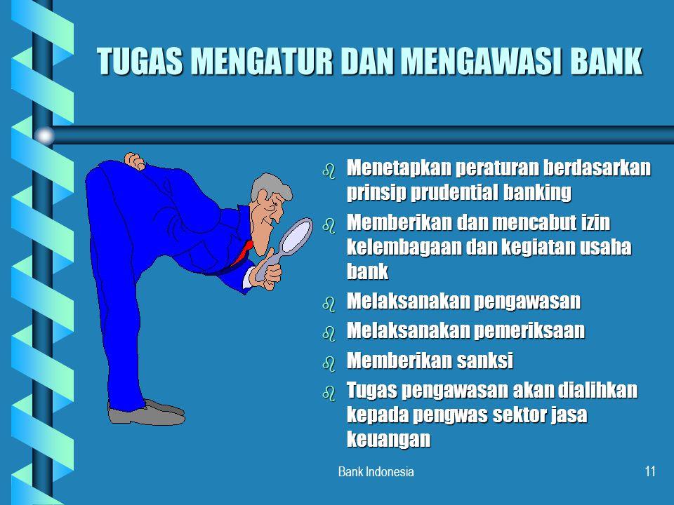 Bank Indonesia11 TUGAS MENGATUR DAN MENGAWASI BANK b Menetapkan peraturan berdasarkan prinsip prudential banking b Memberikan dan mencabut izin kelemb