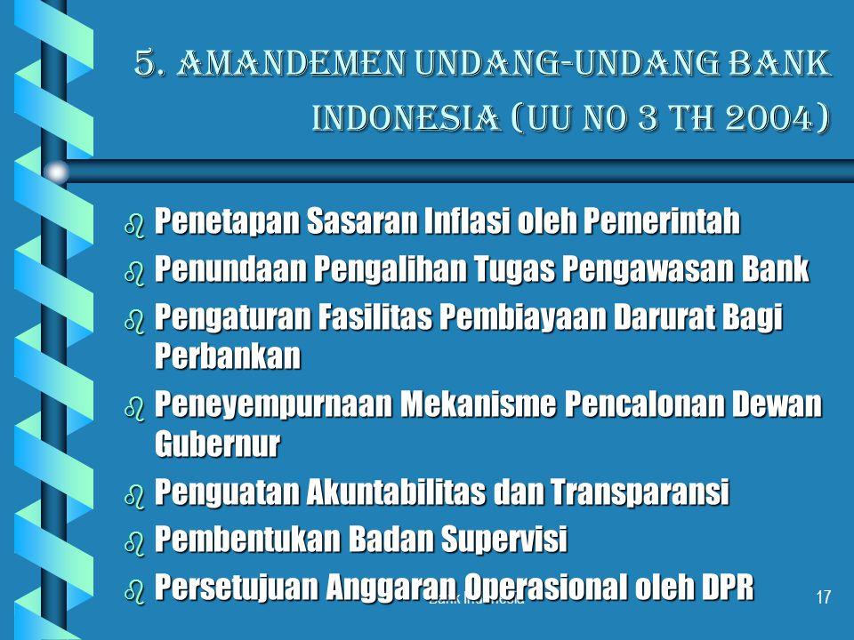 Bank Indonesia17 5. Amandemen Undang-Undang Bank indonesia (UU N0 3 th 2004) b Penetapan Sasaran Inflasi oleh Pemerintah b Penundaan Pengalihan Tugas