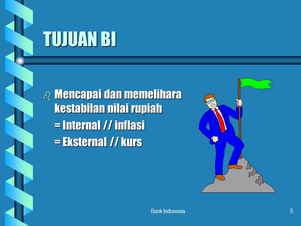 Bank Indonesia6 TUGAS BI UNTUK MENCAPAI TUJUAN MENSTABILKAN RUPIAH, BI MEMILIKI 3 TUGAS: b MENETAPKAN DAN MELAKSANAKAN KEBIJAKAN MONETER b MENGATUR DAN MENJAGA KELANCARAN SISTEM PEMBAYARAN b MENGATUR DAN MENGAWASI BANK